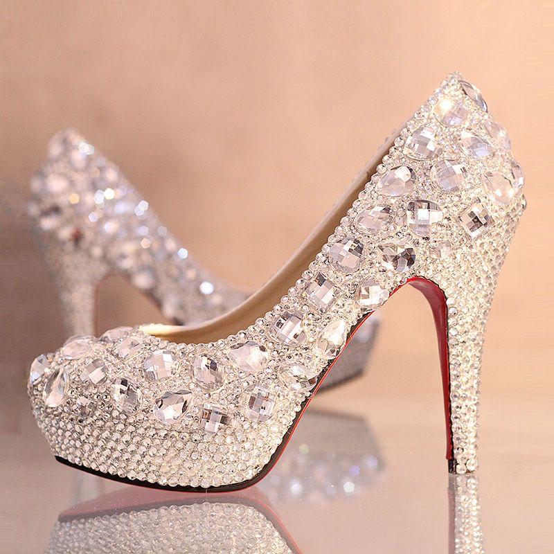 820fcb8b10bb8 Chaussures femme strass magnifique escarpin mariage discount au talon  aiguille chaussure de mariée scintillante