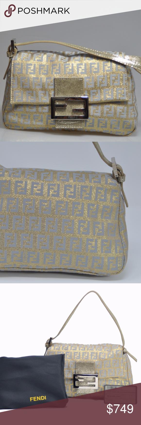 26d7dfe1df Fendi Gold  amp  Aqua Blue Metallic Mini Mamma Handbag  1400 NWT. ONE OF MY