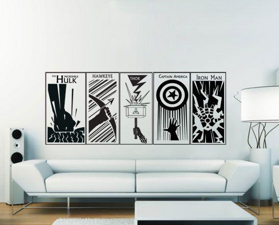 The Avengers Captain America Thor Hulk Hawkeye Iron By Dinaamon 39 99 Avengers Wall Art Dragon Ball Vinyl Wall Art Decals