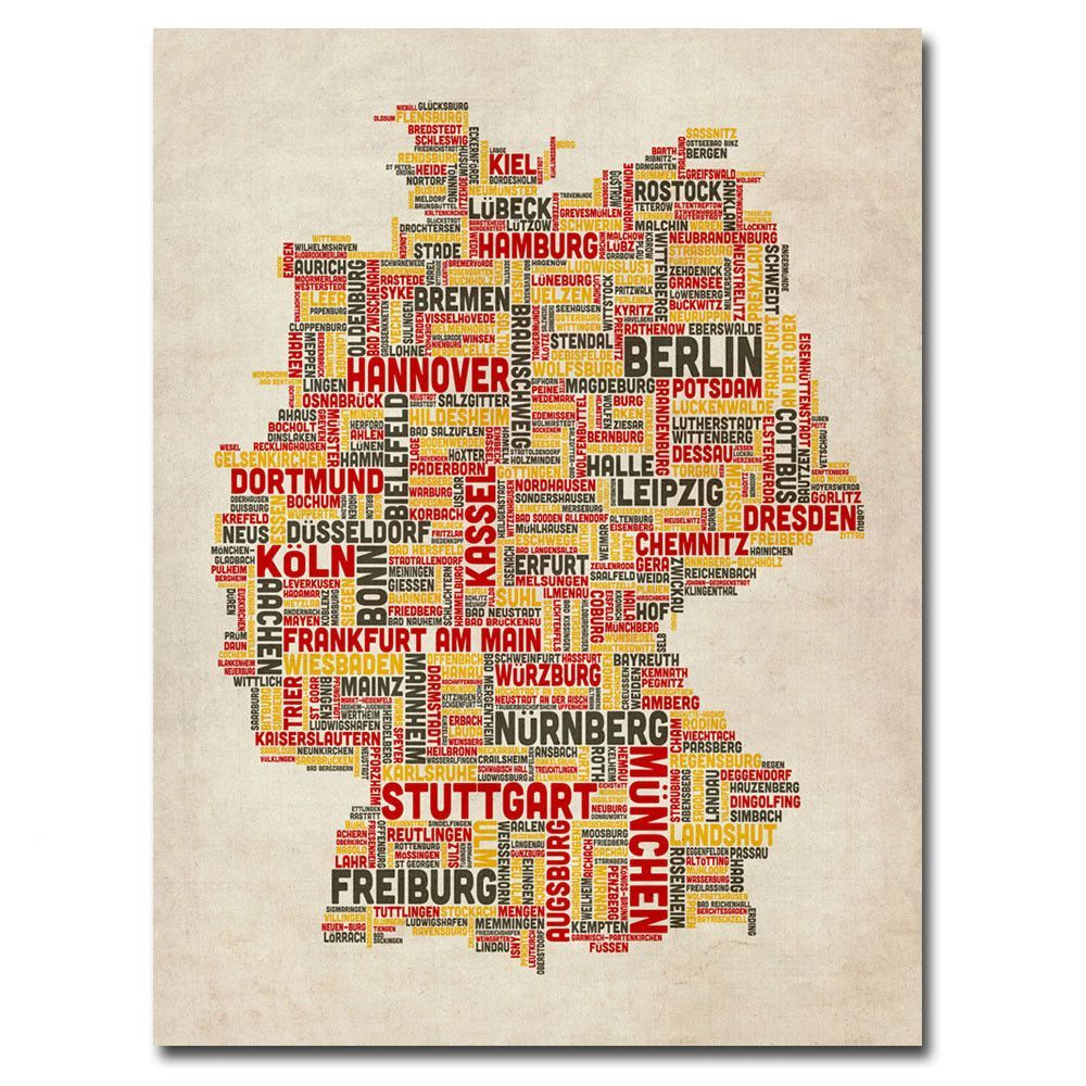 'Germany Text Map II' by Michael Tompsett Graphic Art on Canvas