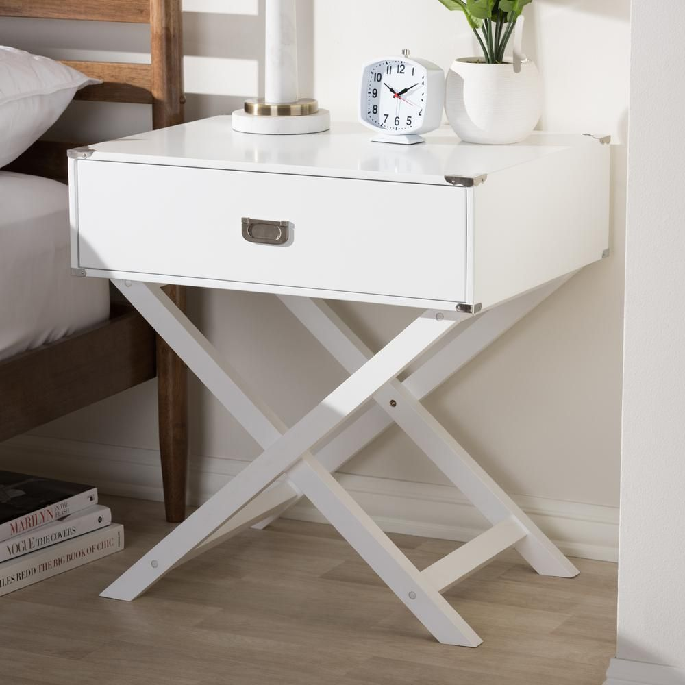 Baxton Studio Curtice 1 Drawer White Nightstand 28862 7629 Hd The Home Depot Wooden Bedside Table Wooden Nightstand White Nightstand