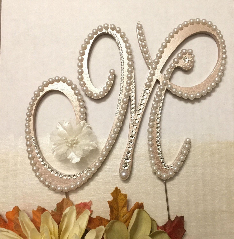 Pearl Cake Topper Monogram Wedding Cake Topper Swarovski Crystals ...