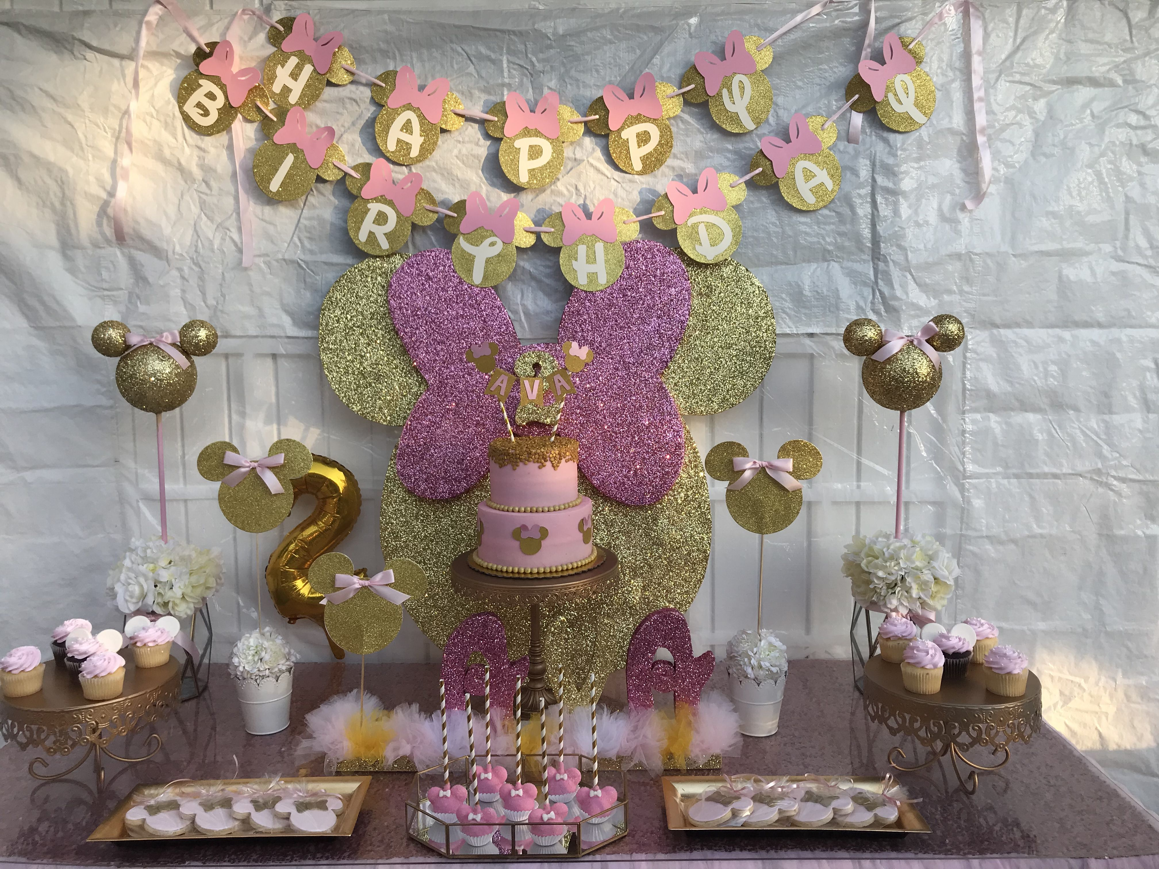 Minnie Mouse Gold And Pink Birthday Party Ideas Parties