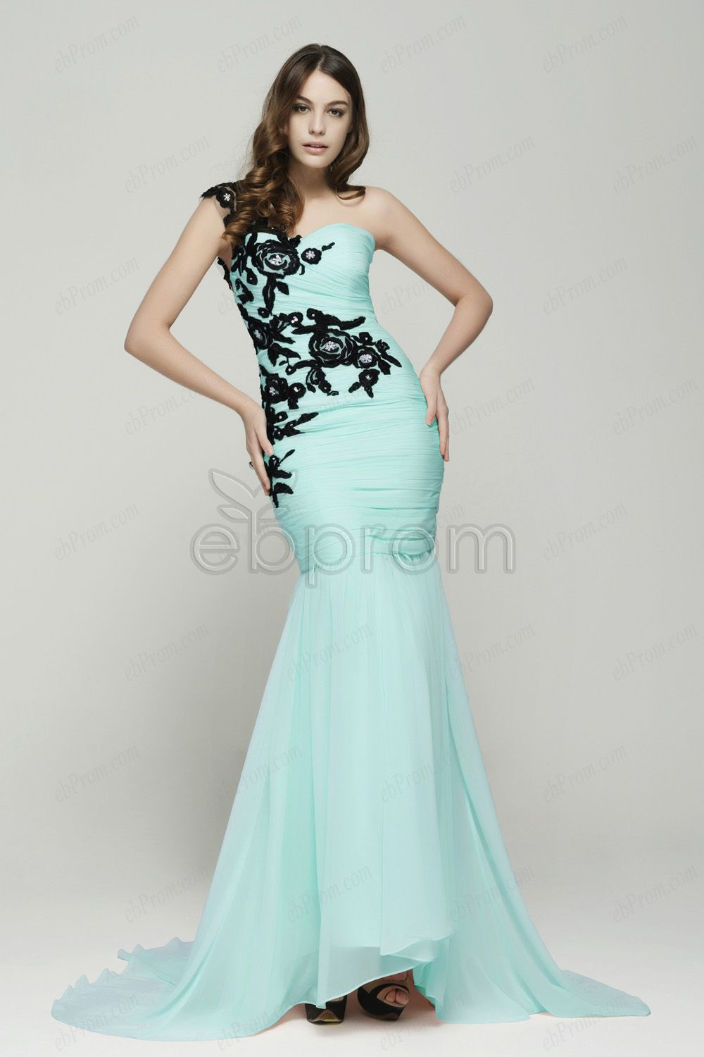 Light blue mermaid prom dress with black lace | Black laces, Lace ...