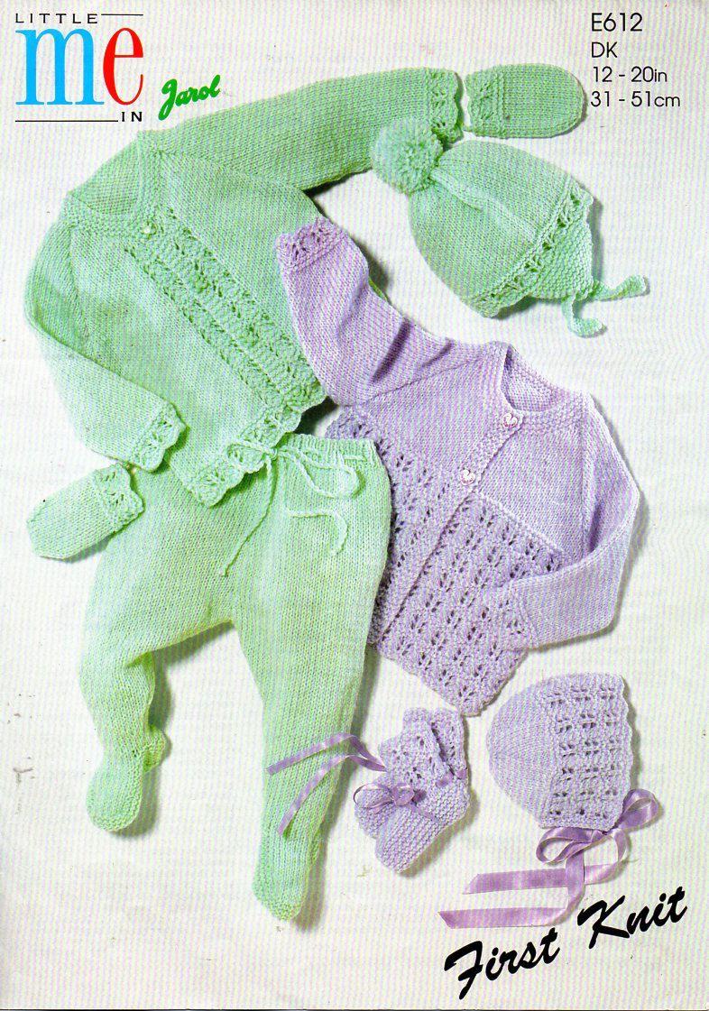 ce33eb471 baby pram set knitting pattern PDF baby coat leggings hats mitts ...
