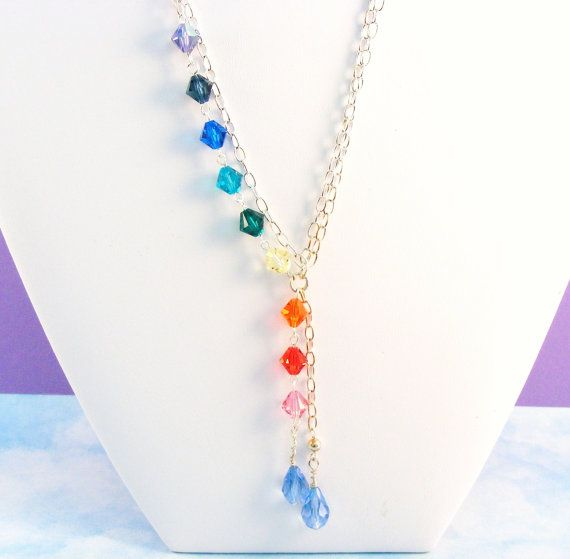 Swarovski crystal necklace double strand pendant energy healing swarovski crystal necklace double strand pendant energy healing color therapy rainbow mozeypictures Image collections