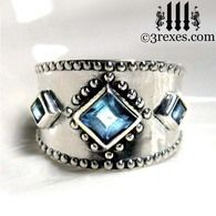 silver with blue topaz