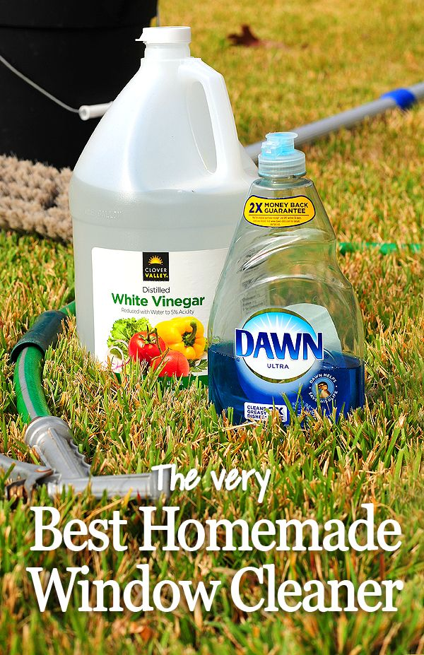 The Very BEST Homemade Window Cleaner! 2 cups water, 1/4 cup white vinegar, and 1/2 tsp of dish detergent.
