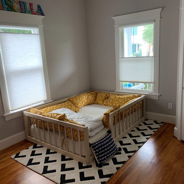 Photo of Full Size Montessori Floor Bed to Raised Bed Frame Convertible With Rails Full Floor Bed Hardwood 4 Railing+Legs+Slats