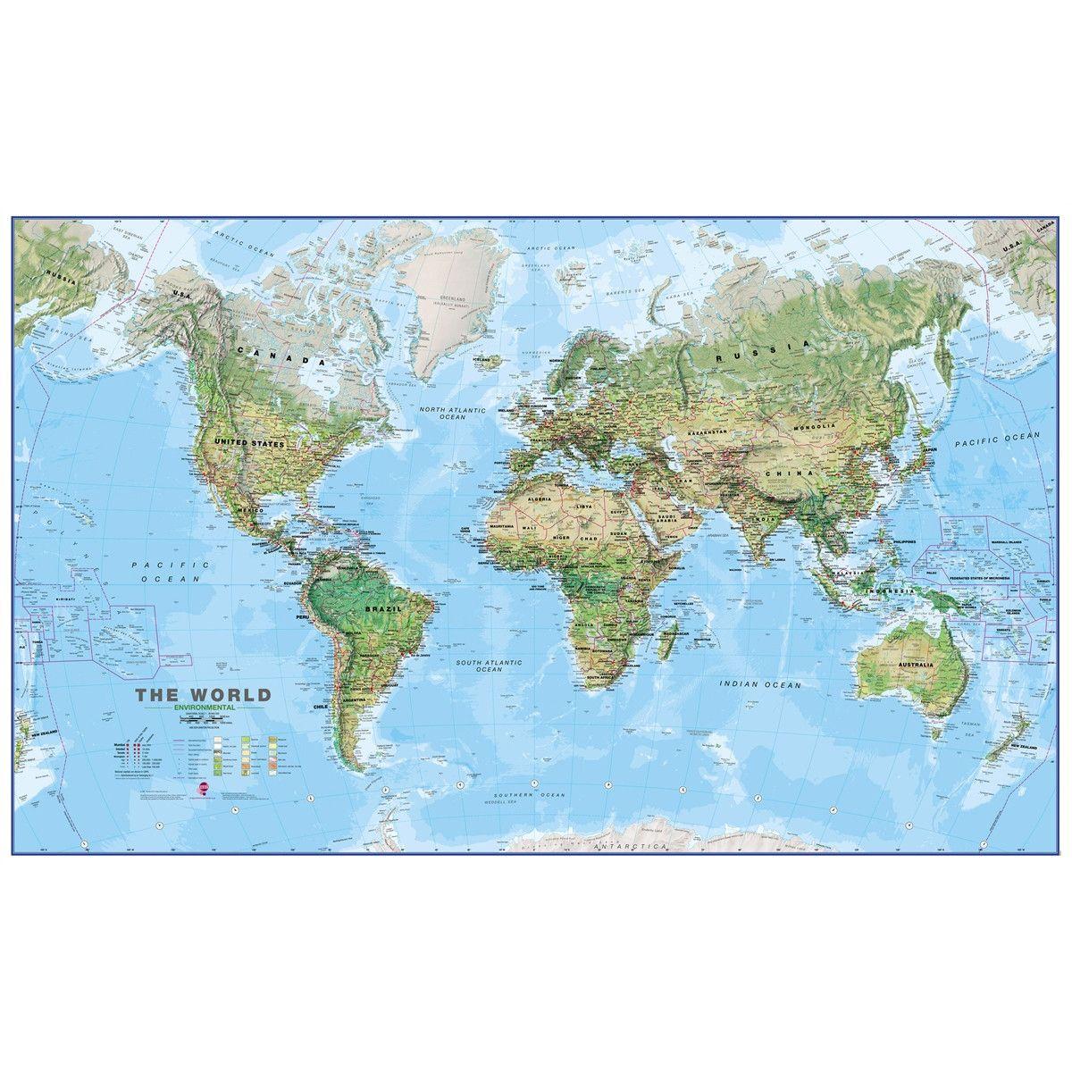 world physical environment 1 20 laminated map wall mural on laminated wall maps id=30560