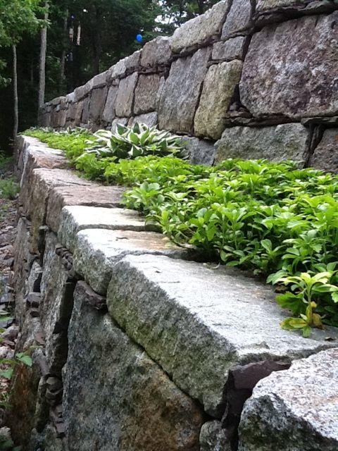 Granite Block Curb : Two tier granite retaining wall built from reclaimed
