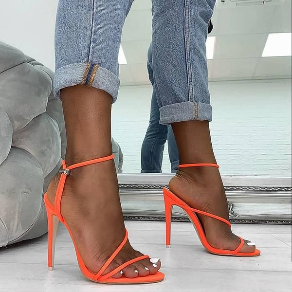 eb1c2efe8885 Cherry neon orange strappy toggle heels in 2019