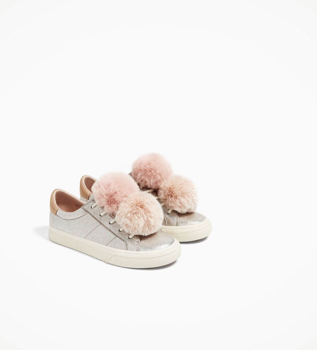 b28e7267bc0 METALLIC SNEAKERS WITH POMPOMS-SHOES-GIRL | 5-14 years-COLLECTION AW/17 |  ZARA United States