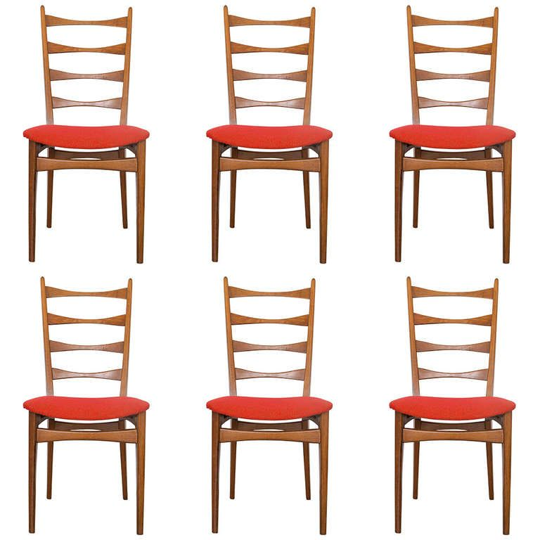 Six Danish Modern Midcentury Ladder Back Dining Chairs | Danish ...