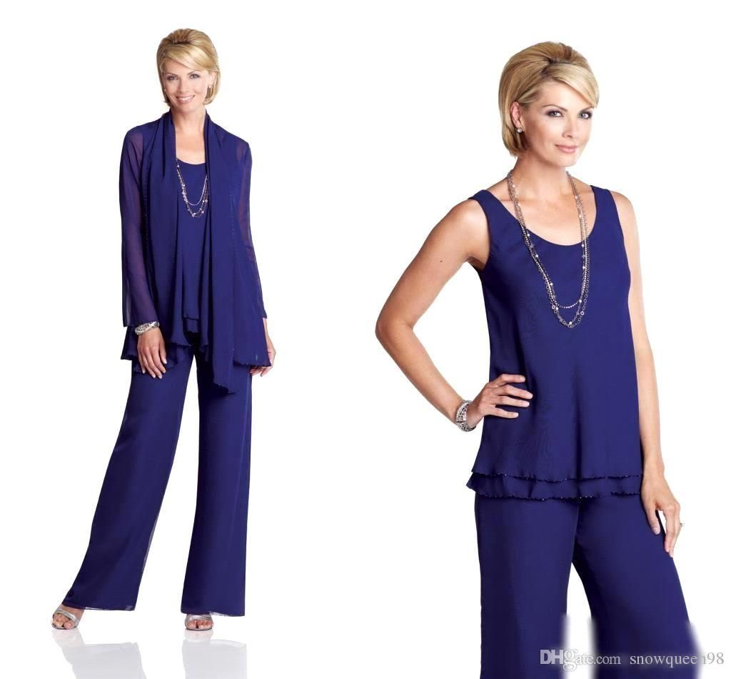 Royal Blue Chiffon Mother S Suit Scoop Sleeveless Elegant
