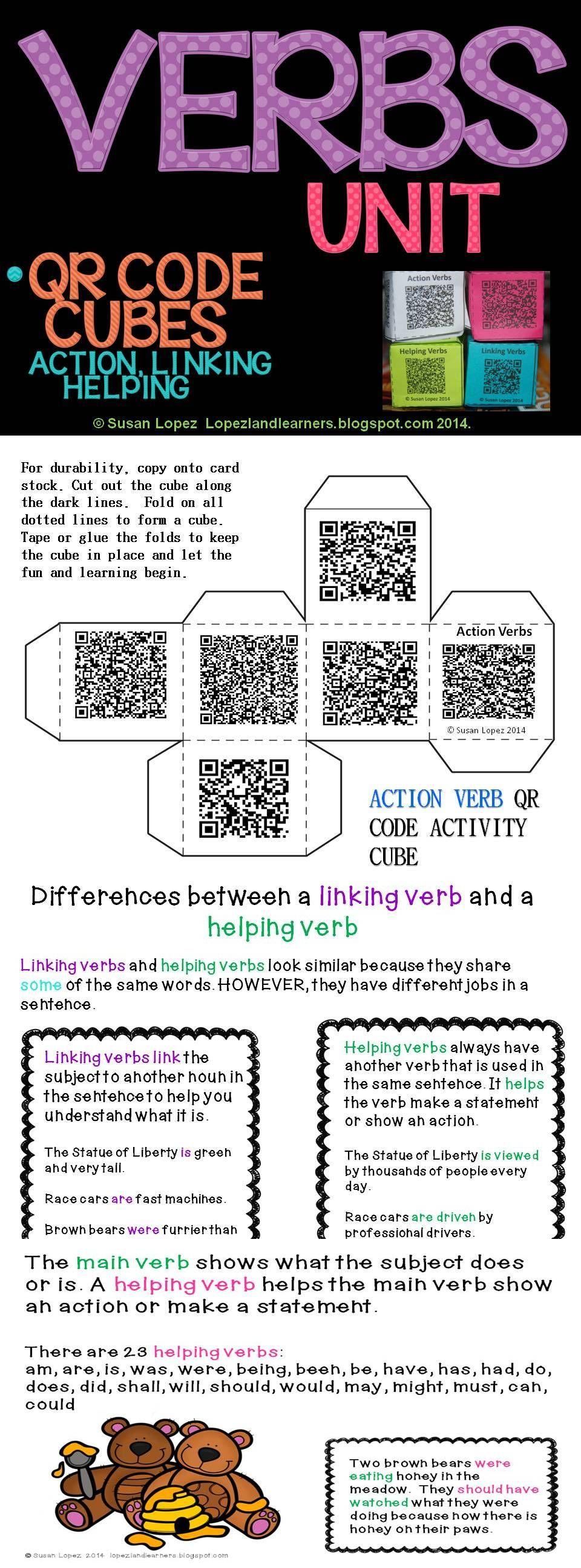 Verbs Qr Code Writing Activity Cubes Verb Examples Linking Verbs