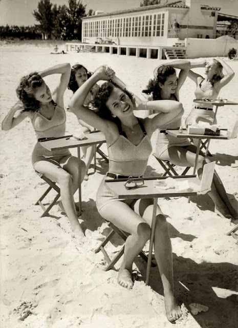 Beauty school at the beach, 1940s.