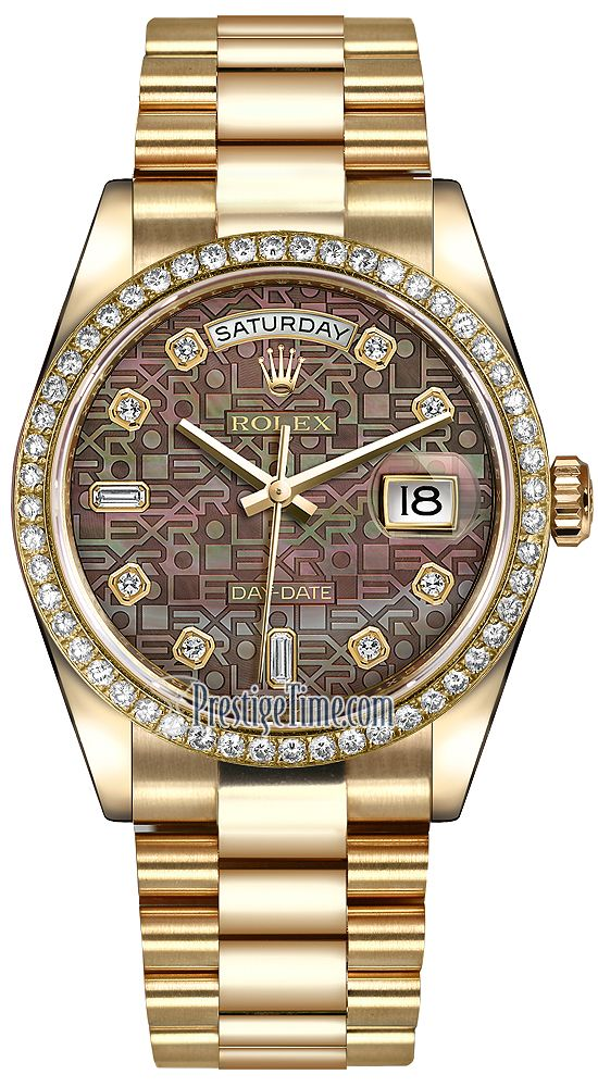 Rolex Day-Date 36mm Yellow Gold Diamond Bezel 118348 Black MOP Jubilee Diamond President