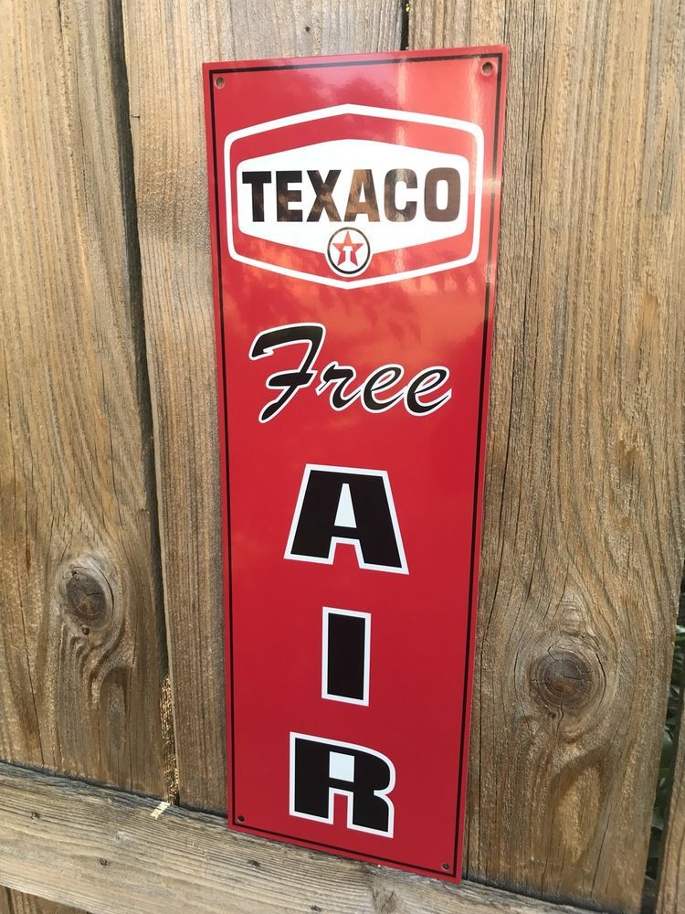 Texaco Free Air Garage Metal Gasoline Gas sign Pump Oil