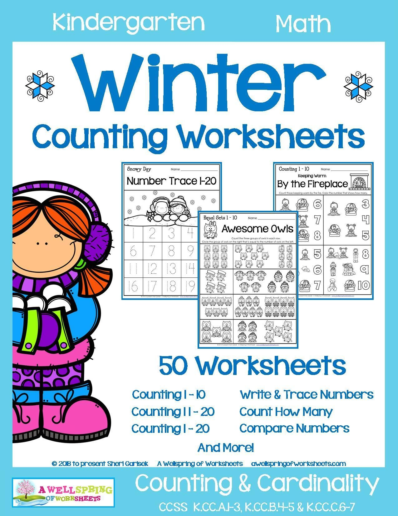 Winter Counting Worksheets For Kindergarten This Set Contains 50 Fun And Engag Counting Kindergarten Counting Worksheets Counting Worksheets For Kindergarten [ 1650 x 1275 Pixel ]
