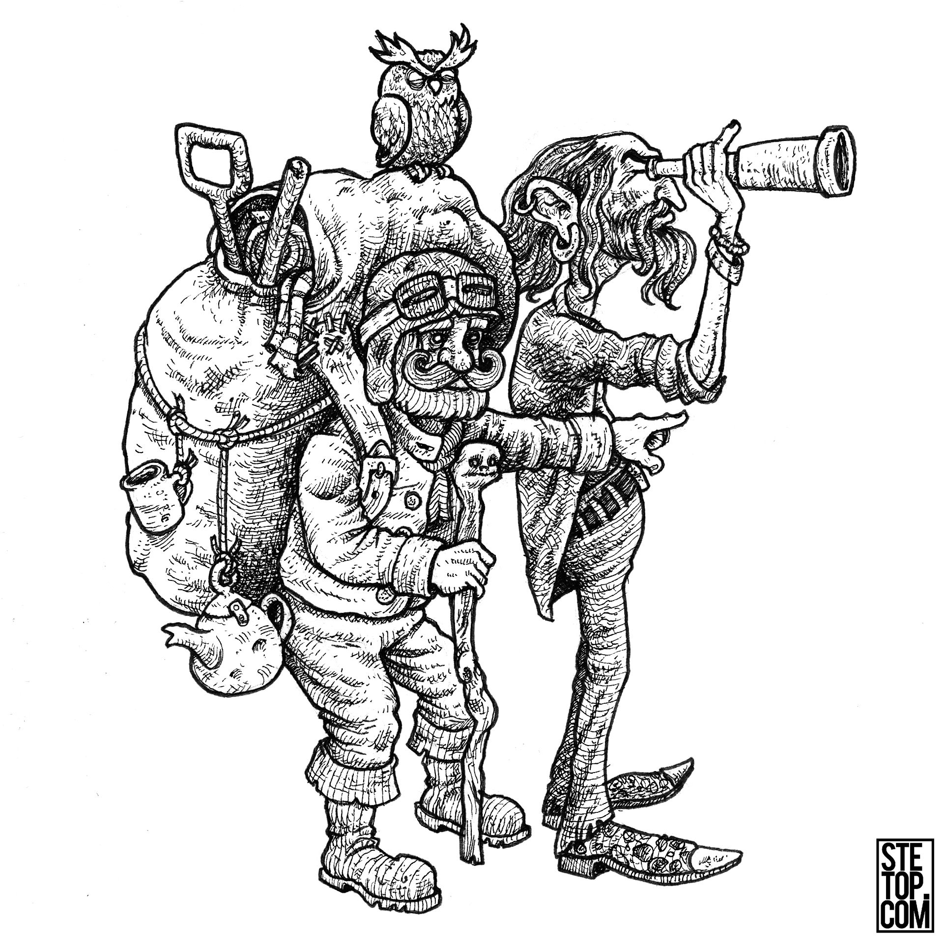 Habernackle And Finley Explorer Duo Line Art Character