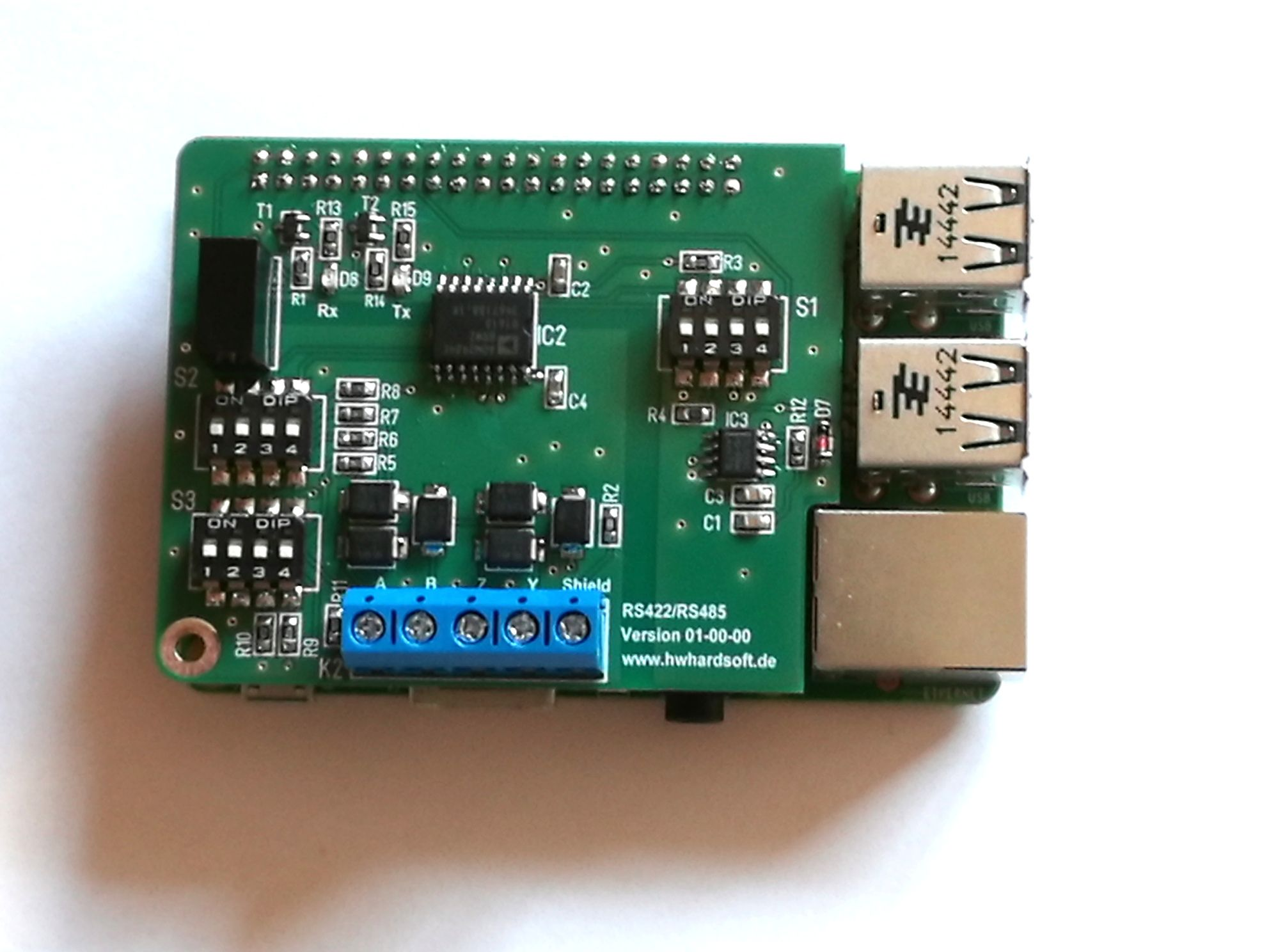 RS422 / RS485 shield for Raspberry Pi | RS422 / RS485 Shield
