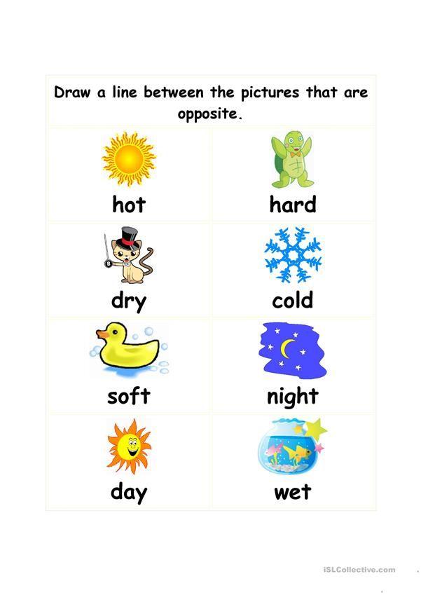 Opposites Opposites Preschool Senses Preschool Teaching Vocabulary Opposites worksheet kindergarten