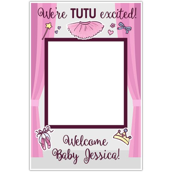 Gold Feathers Baby Shower Selfie Frame Social Media Photo Prop Poster