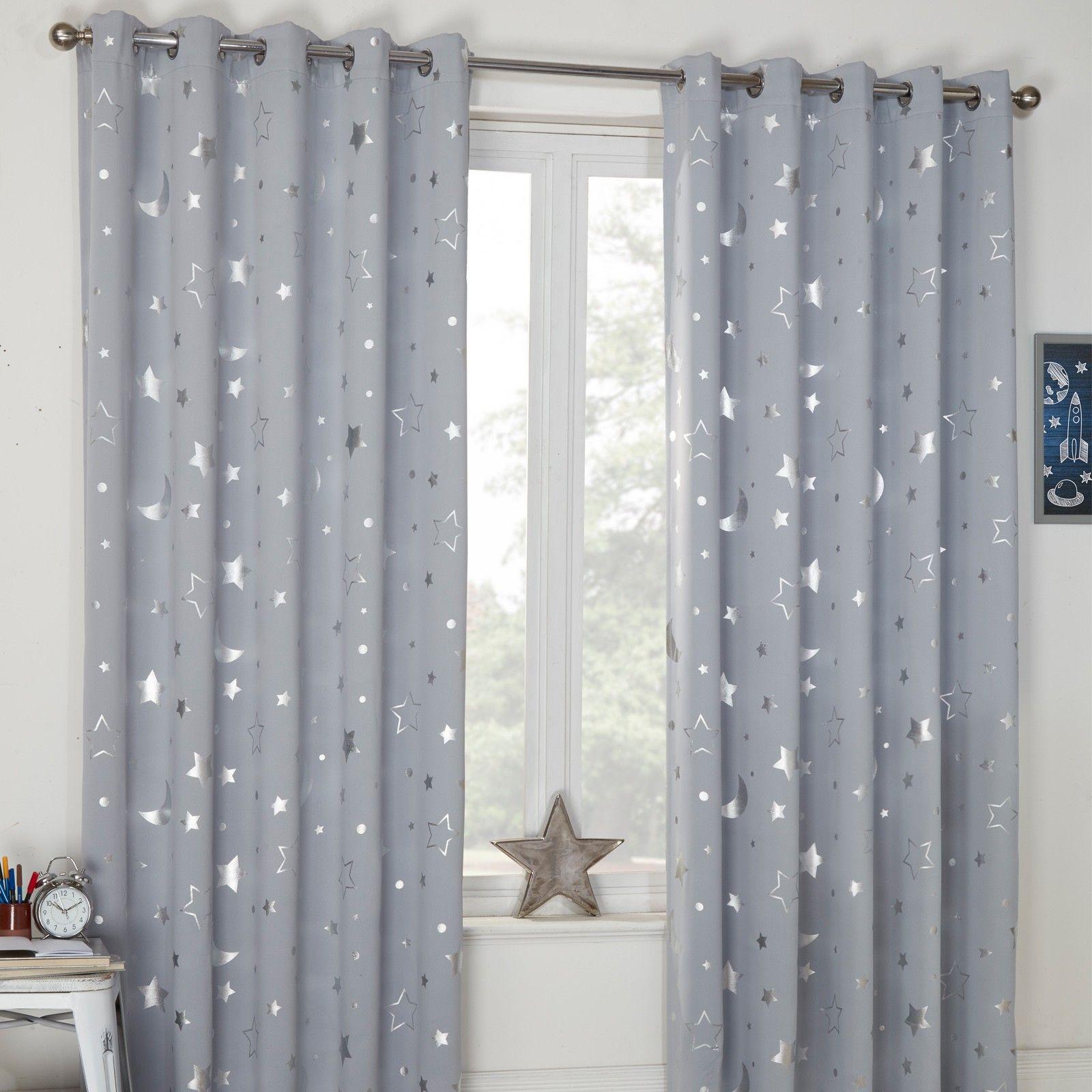 Dreamscene Star Blackout Galaxy Kids Curtains Silver Grey Kids Curtains Thermal Curtains Curtains Ready Made