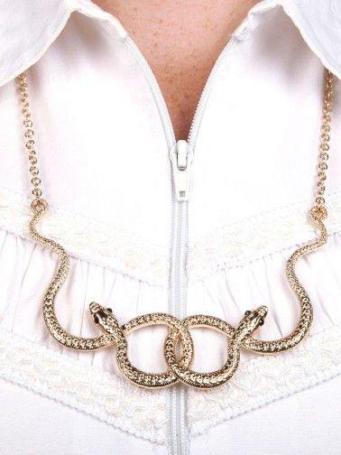 Colar serpente dupla com corrente média.