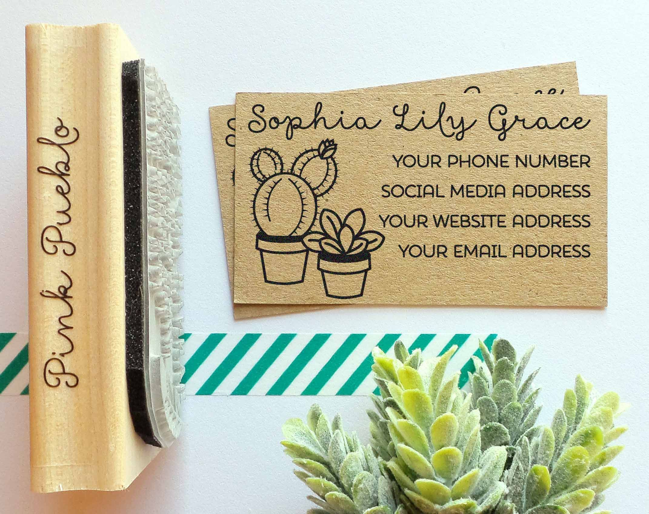 personalized cactus and succulent business card stamp custom