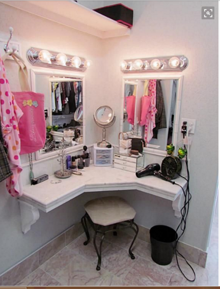 Corner Dressing Table Design Whit Mirror Lighting Png 432