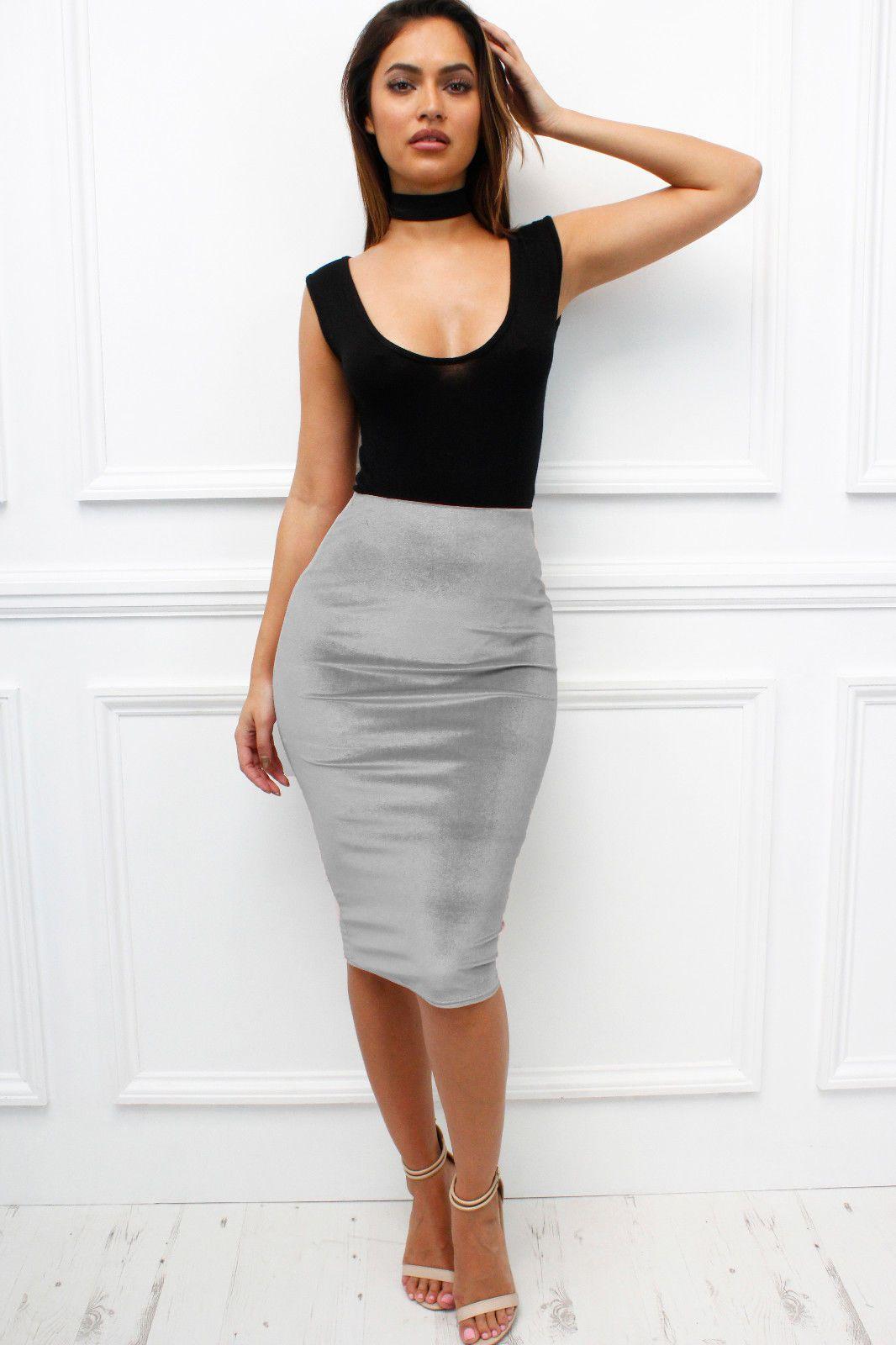 926af193f2 Uk Velvet Velour Silver High Waisted Grey Stretch Midi Bodycon Pencil Skirt