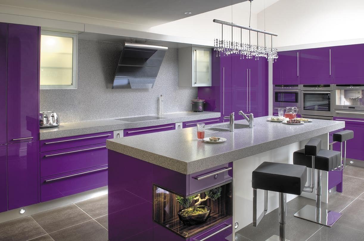 Modern Kitchen Design Purple Cabinets Gray Marble Backsplash Plus Granite Countertops Island Black Lea Purple Home Decor Purple Kitchen Cabinets Purple Kitchen
