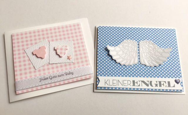 papierZART : süße Knirpse, Babykarten, Karten, Glückwunschkarten, Baby, Stempel kleiner Engel TY580, Stanze Memory Box Embossed Angel Wings 99230