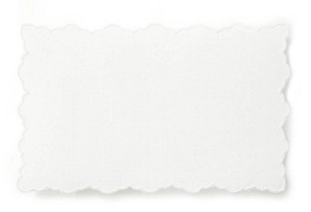 S/4 Scallop Cocktail Napkins, Rectangle