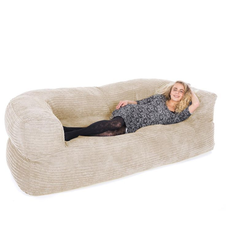 Corduroy Couch Bean Bag   Sand