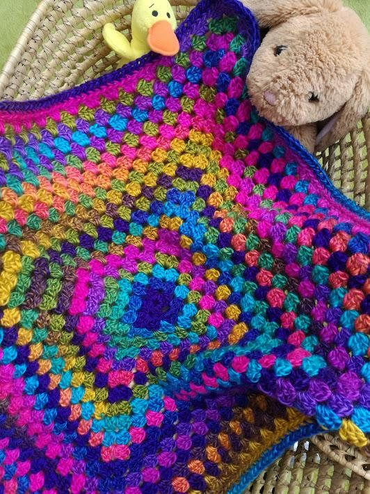 Hand Crochet Baby Blanket, Brightly Coloured, Granny Square in extra ...