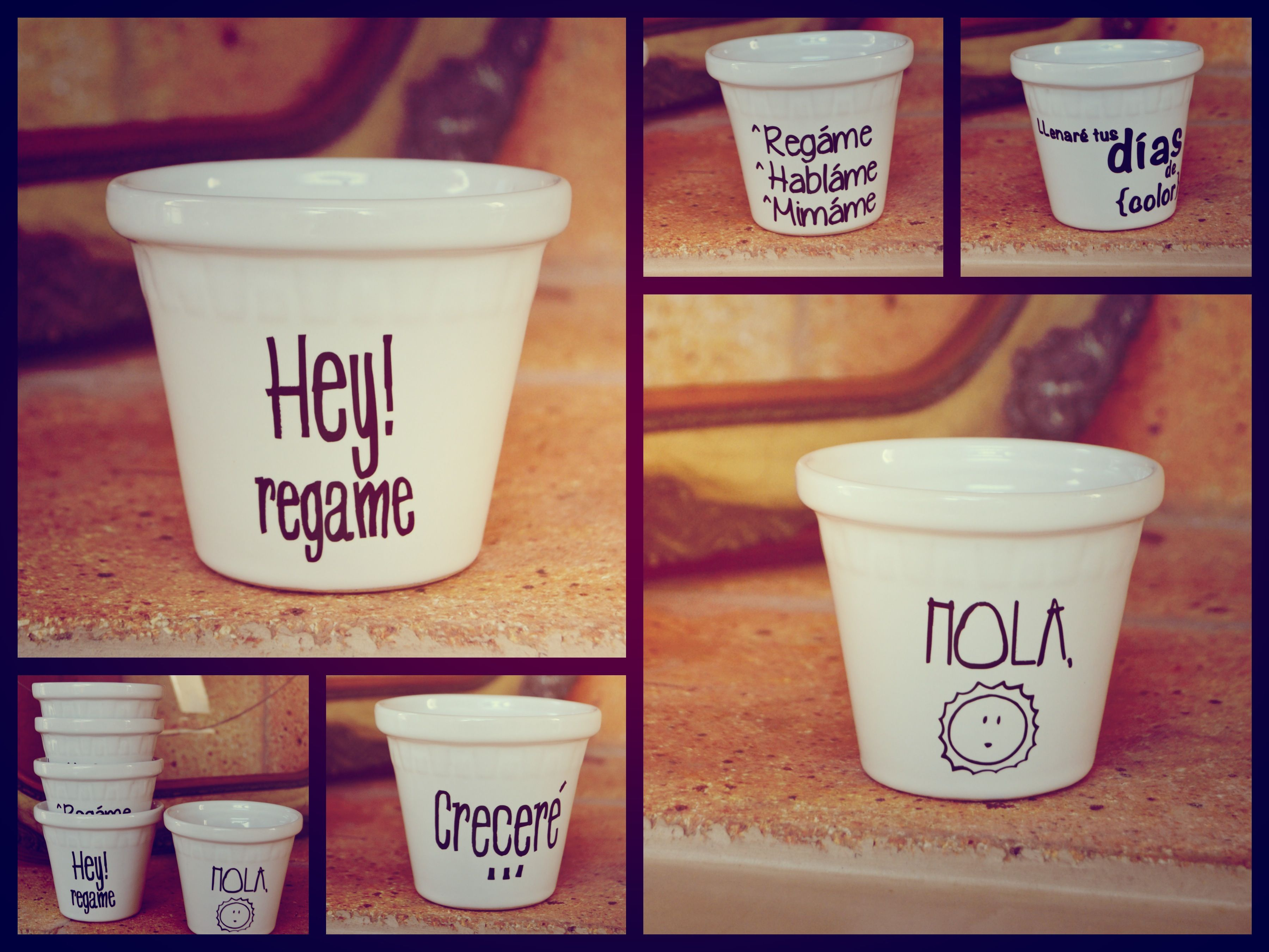 Macetas de porcelana con frases meny pinterest - Macetas de porcelana ...
