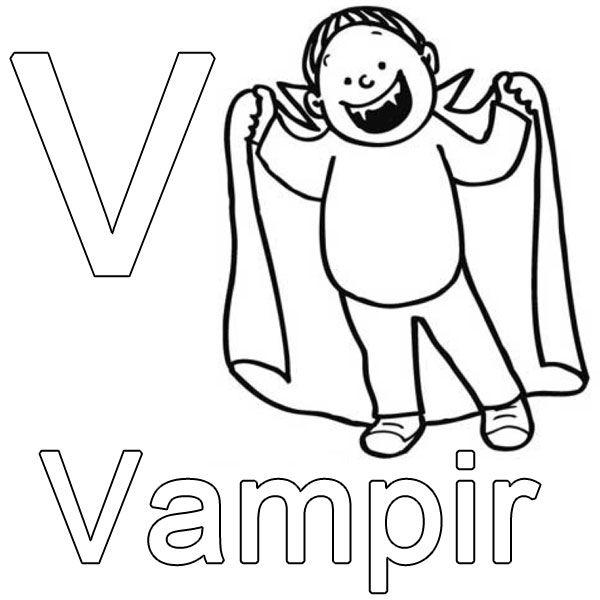 Ausmalbild Buchstaben lernen Kostenlose Malvorlage V wie Vampir