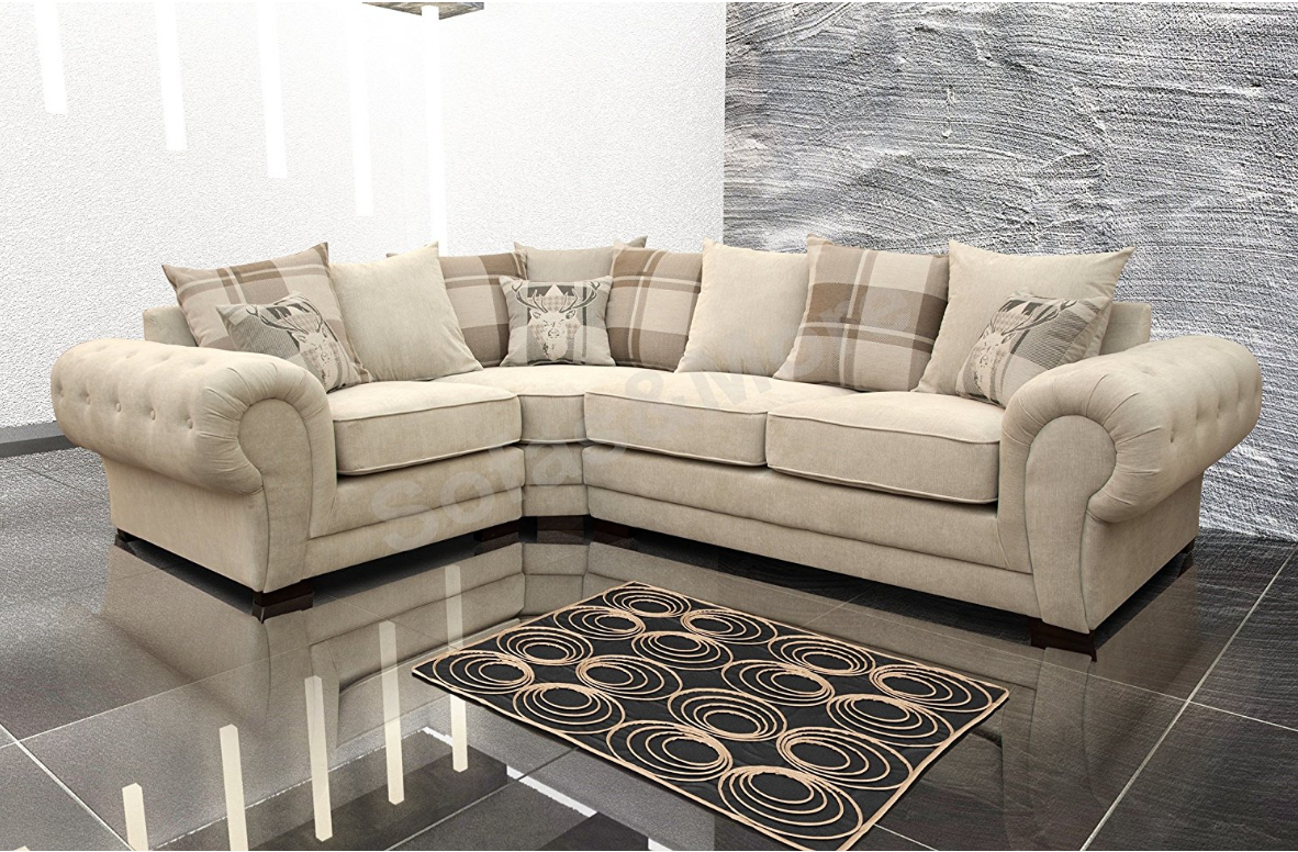Corner Sofa Verona Fabric Left Or Right Grey Brown Cream Designer Scatter Cushions Living Room Furniture Left Cr Leather Corner Sofa Scatter Cushions Sofa Uk