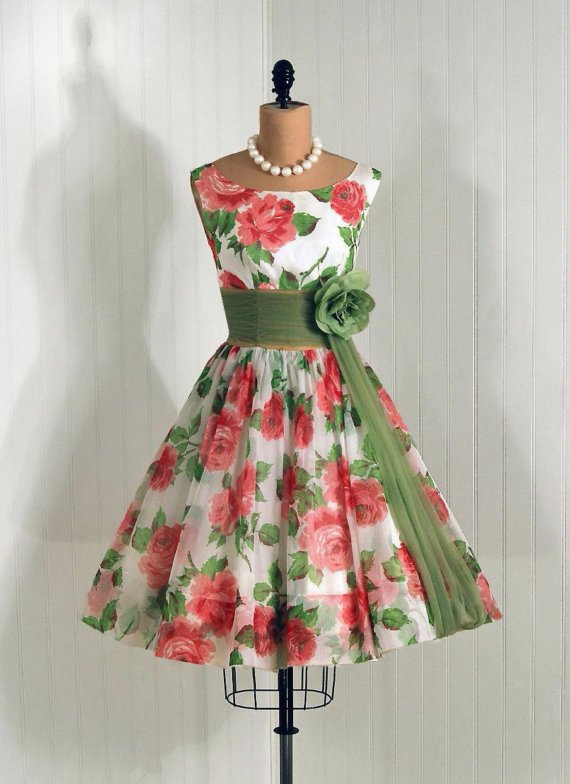 Easter Dress?   Vintage 1950s Pink Roses Floral Dress with Green Sash ....Too Cute!! Would look good with my green cowboy boots!