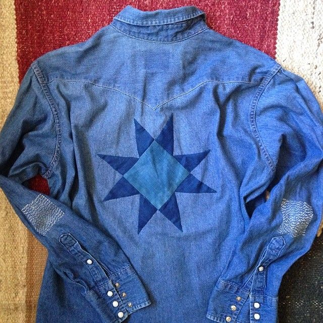 Working on a small batch of vintage western denim shirts for the @northerngrade show in Austin June 14-15. Hand dyed indigo appliqué and sashiko boro stitches!!