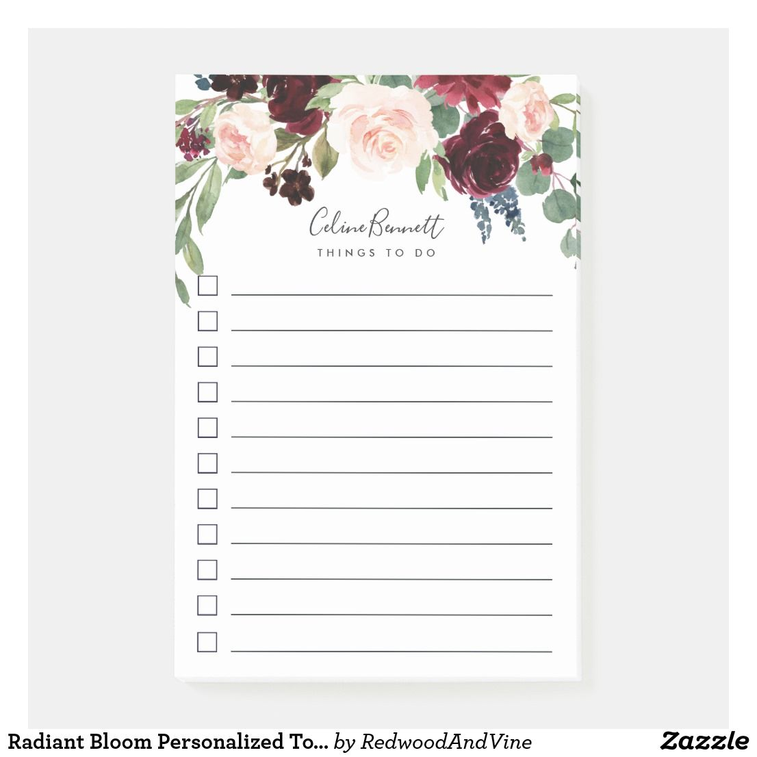 radiant bloom personalized to do list post it notes products i