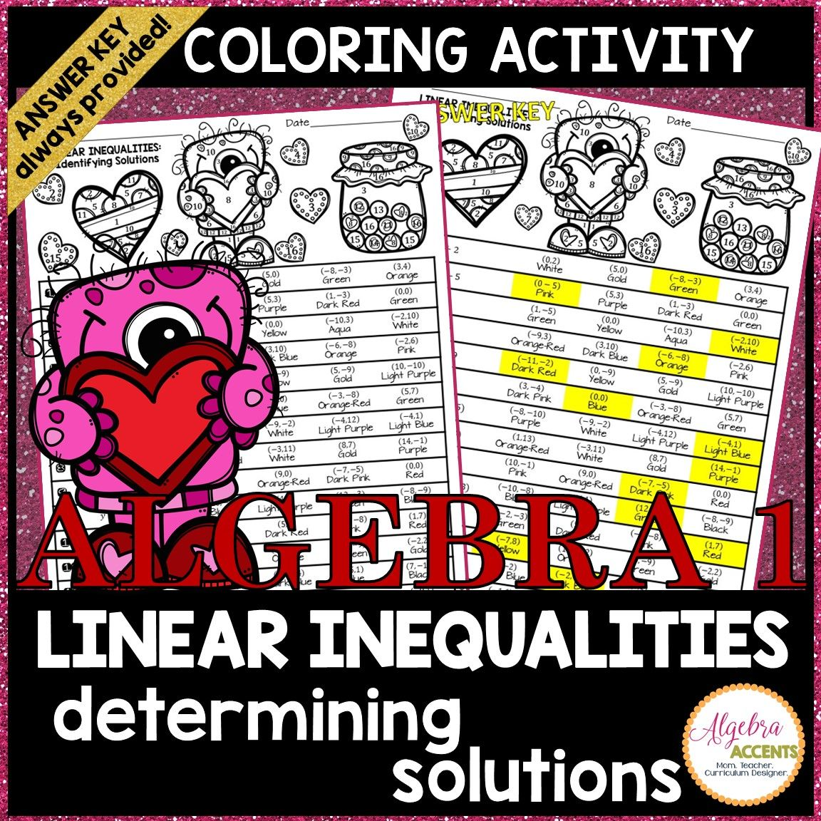 Valentine S Day Algebra Math Determining Solutions To