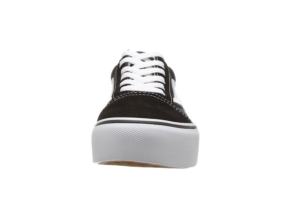 fbe89b57866 Vans Kids Old Skool Platform (Little Kid/Big Kid) Girls Shoes Black/True  White
