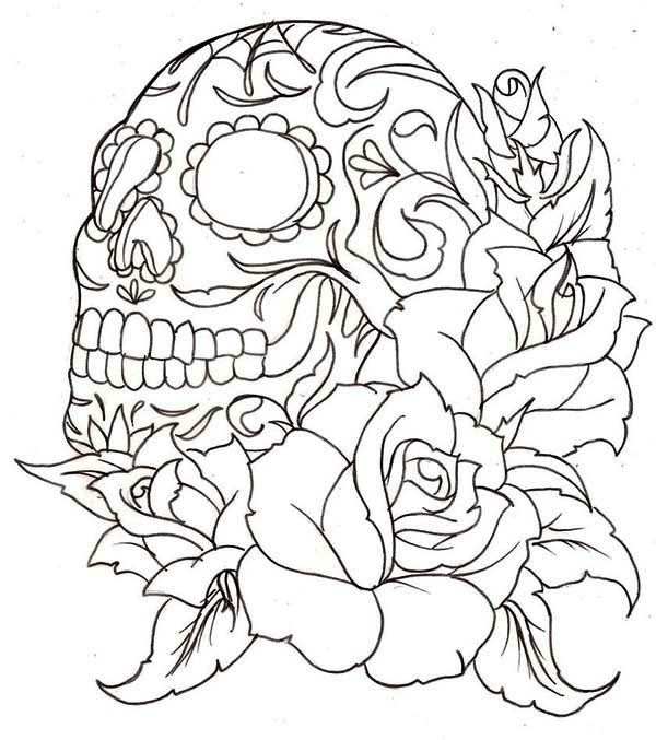 Skull And Roses Coloring Page Coloring Sky Skull Coloring Pages Tattoo Coloring Book Rose Coloring Pages
