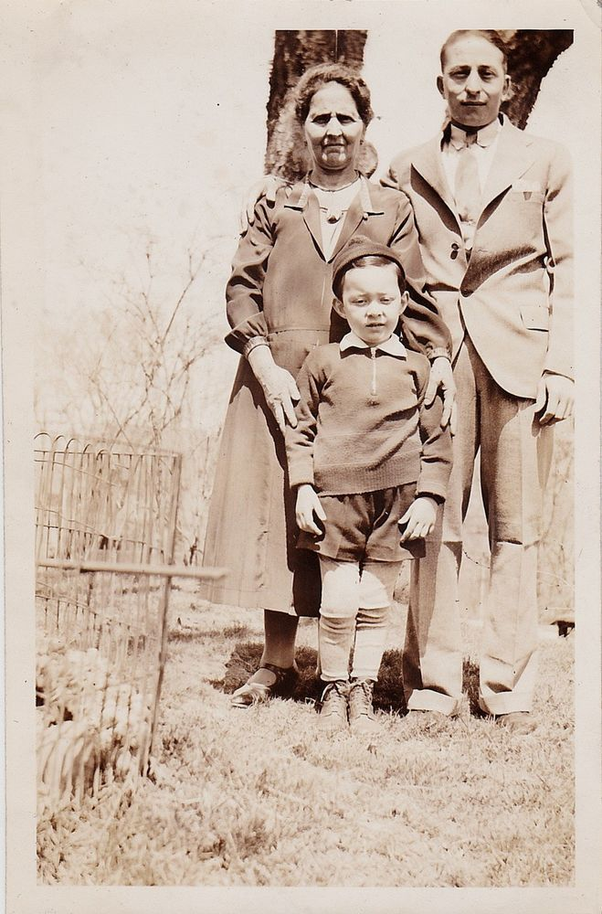 Antique Photograph Mom & Dad With Adorable Little Boy Wearing the Cutest Outfit