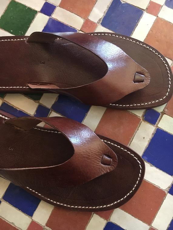 5cf3daf7c40b Moroccan Handmade Men s Dark Brown Leather Thong Flip Flop Sandals ...