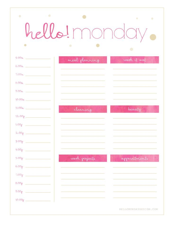 Free Hello {Monday - Sunday} Weekly Planner Printables Free - printable day planner